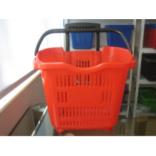 Two Wheels Rolling Supermarket Shopping Plastic Basket
