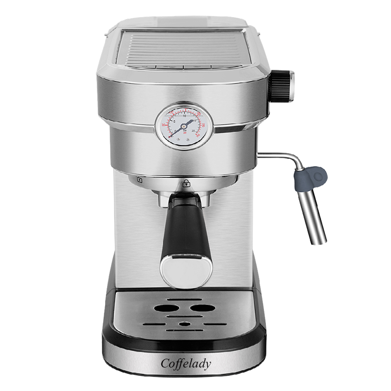 Stainless steel coffee maker with pressure meter