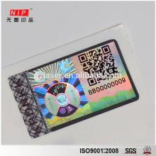 High grade UV printing Security Id card hologram stickers