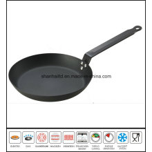 Black Steel Round Frying Pan Grey Blasting Fry Pan