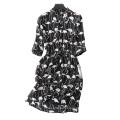 Frauen Seidenkleid über Knie Druck Schwan / Kran Muster Dekor V-Ausschnitt mit Gürtel Halbe Ärmel Kleider