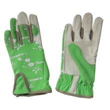 Pigskin Palm Stretch Spandex Lady Flower Garden Working Glove