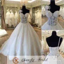 Sexy Brautkleid sehen durch Spitze Blume Boning Ballkleid Brautkleid 2016