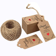 Custom Design Wedding Thank You Kraft Paper Hang Tags