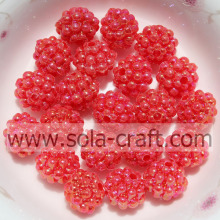 Red Color Fashion Opaque Plastic Little Berry Beads For Jewelry