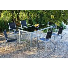 Outdoor Furniture 7pc imité bois ensemble dinant