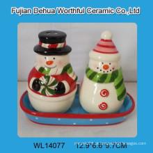 Cute cerâmica Snowman sal e pimenta abanadores