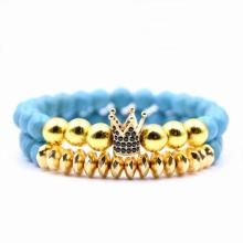 Fake Gold Crown Charm 8MM Juego de pulsera turquesa