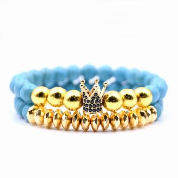 Fake Gold Crown Charm 8MM Turquoise Bracelet Set