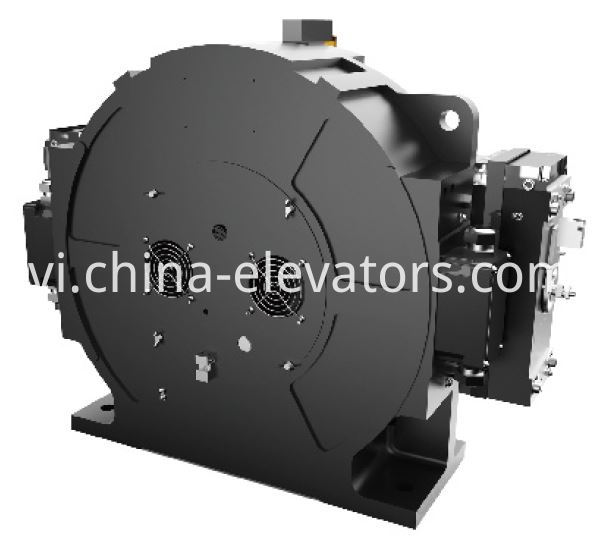 Passenger Elevator PM Gearless Machine With Rearmounted Cooling Fans