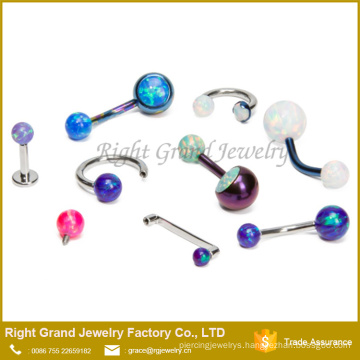 316L Surgical Steel Opal Ball Body Piercing Jewelry Navel Belly Ring