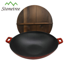 Wholesale Industrial Chinese Big Red Enamel Cast Iron Wok Set