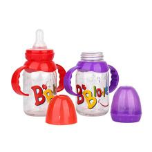 food grade customized logo 120ml 4oz baby feeding glass bottle with handle nipple lid cap