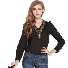 Moda y decoración de cobre retro top blusa con cuello en v camiseta de manga larga blusa de las mujeres