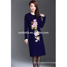 Autumn Winter Elegant Women Chic High Grade Noble Embroidered Cardigan Dresses Sweater