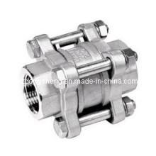 Válvula de retenção carregada de mola de aço inoxidável de 3 pinos com extremidade roscada