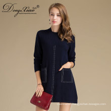 Wholesales Custom Flat Knitted Crew Neck Cashmere Sweater With Pockets