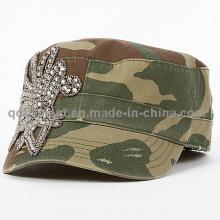 Mode Rhinestone Applique Schleifen gewaschen Freizeit Military Cap (TM666504099A)