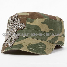Fashion Rhinestone Applique Grinding Washed Leisure Military Cap (TM666504099A)