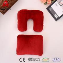 2018 Nuevo diseño convertible de lana de fleece almohada de cuello de viaje de color sólido, almohada rectangular puede transferir a la almohada en forma de U
