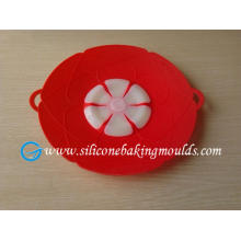 Red Spill Stopper 11.5 Inch Silicone Pot Lid Nontoxic For Promotion Gift