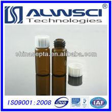 10ML vial de almacenamiento de vidrio de color ámbar con tapa de PP blanco cerrado HPLC / GC frasco de inyector automático 22x52mm