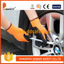 Guante de seguridad de látex de nylon negro fluorescente Dnl415