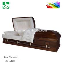 Color de ataúd de madera sólida estándar tradicional de alto brillo