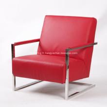 Fauteuil élégant en cuir moderne avec cadre en acier inoxydable