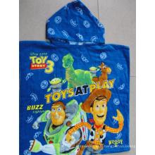 (BC-PB1014) Bonne qualité 100% coton imprimé mignon poncho de plage pour enfants