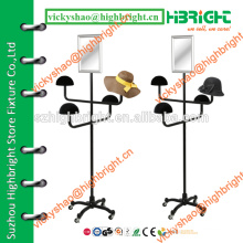 collapsible metal hat display stand with cosmetic mirror