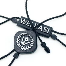 Garment Hangtag String Wholesale Custom Embossed Brand Name Logo PP Plastic Hang Tag String Loop for Clothes