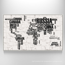 Weltkarten-Kunst auf Segeltuch-dekorativer Segeltuch-Karten-Druck für Wand-hängendes Dekor