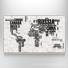 Arte del mapa del mundo en la lona Impresión decorativa del mapa de la lona para la decoración que cuelga de la pared