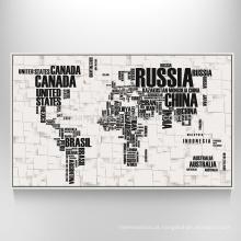 Arte do mapa do mundo na cópia decorativa do mapa da lona das canvas para a decoração de suspensão de parede
