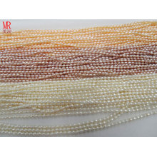 2-3 mm AA Riz / Oval Natural Water Pearl Pearl Strands Wholesale