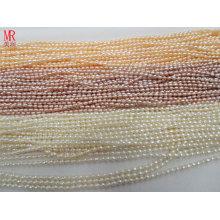 2-3mm AA-Reis / ovale natürliche Frischwasserperlen-Stränge Großverkauf