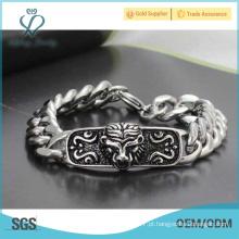 Estilo especial pulseira de crânio norte, pulseira de corrente, bracelete de aço inoxidável 316l