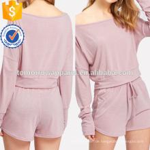 Drop Schulter Crop Pullover mit Shorts Herstellung Großhandel Mode Frauen Bekleidung (TA4083SS)