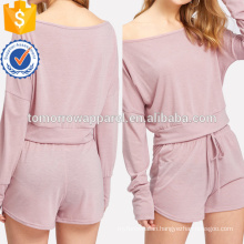 Drop Shoulder Crop Pullover With Shorts Manufacture Wholesale Fashion Women Apparel (TA4083SS)