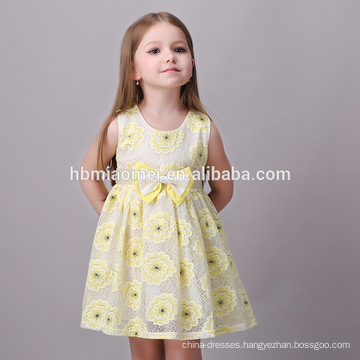 Baby Girls Party Dress Design Simple Yellow Children Girl Dress Beautiful Girl Without Dress