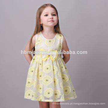 Meninas do bebê vestido de festa projeto simples amarelo crianças menina vestido menina bonita sem vestido