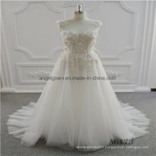 A Line Lace Sleeveless Bridal Wedding Dress