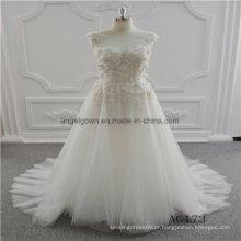 Um vestido de casamento nupcial sem mangas