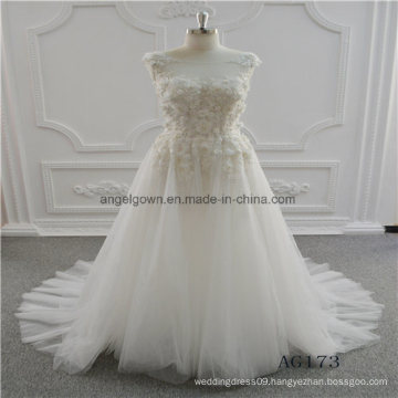 A Line Lace Sleeveless Bridal Wedding Dress