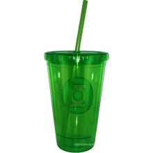 Taza de café plástica impresa aduana con la tapa, taza de café plástica con la cubierta y