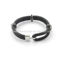 Mens hochwertiges schwarzes echtes Leder Armband Modeschmuck