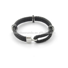 mens high quality black genuine leather Bracelet fashion jewelry