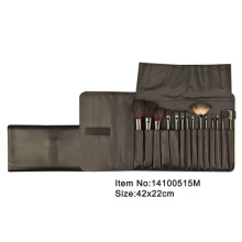 14pcs plastic handle aniamal/nylon hair makeup brush kit with satin case