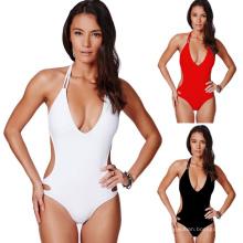 2018 verão swimwear beachwear cor pura de cintura alta maiô